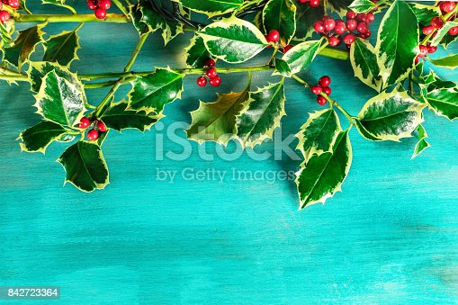 istock Christmas background with holly leaves and copyspace 842723364