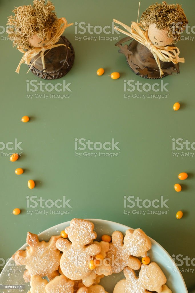 Christmas Background With Homemade Cookies And Singing Angels Stock
