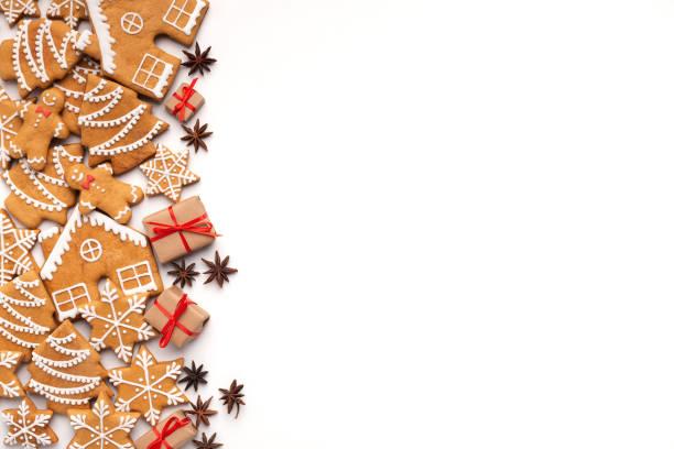 weihnachten hintergrund mit hausgemachten lebkuchen und aromatischen gewürzen - backrahmen stock-fotos und bilder