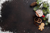 Christmas background with hot chocolate and marshmallow