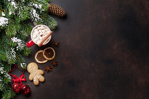 istock Christmas background with hot chocolate and marshmallow 625280698