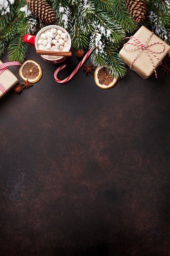 istock Christmas background with hot chocolate and marshmallow 869670584