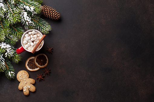 istock Christmas background with hot chocolate and marshmallow 877321636