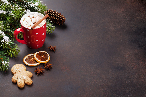istock Christmas background with hot chocolate 623208020