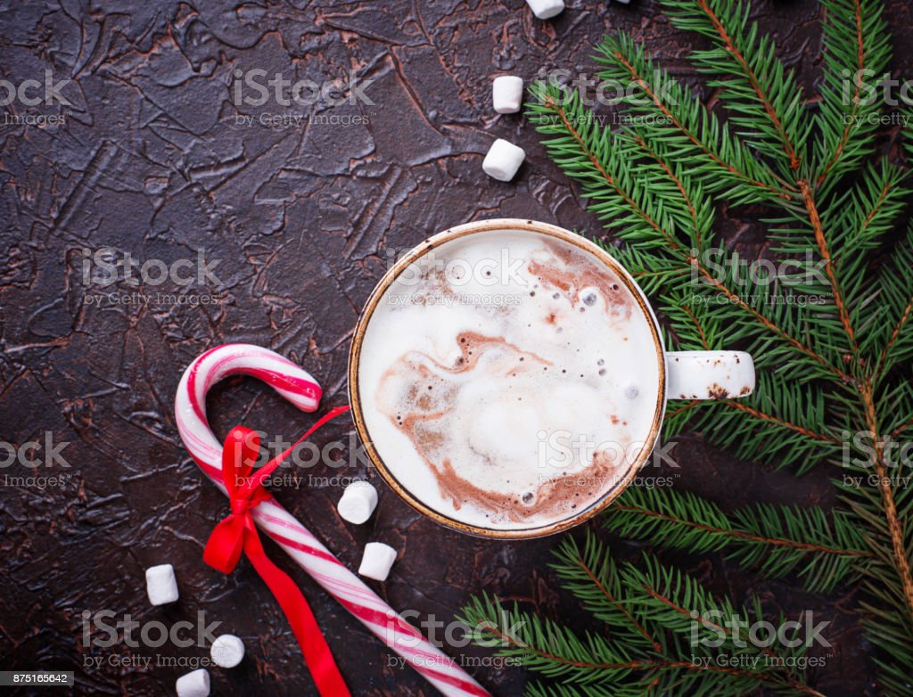 Christmas background with latte and candy cane stock photo