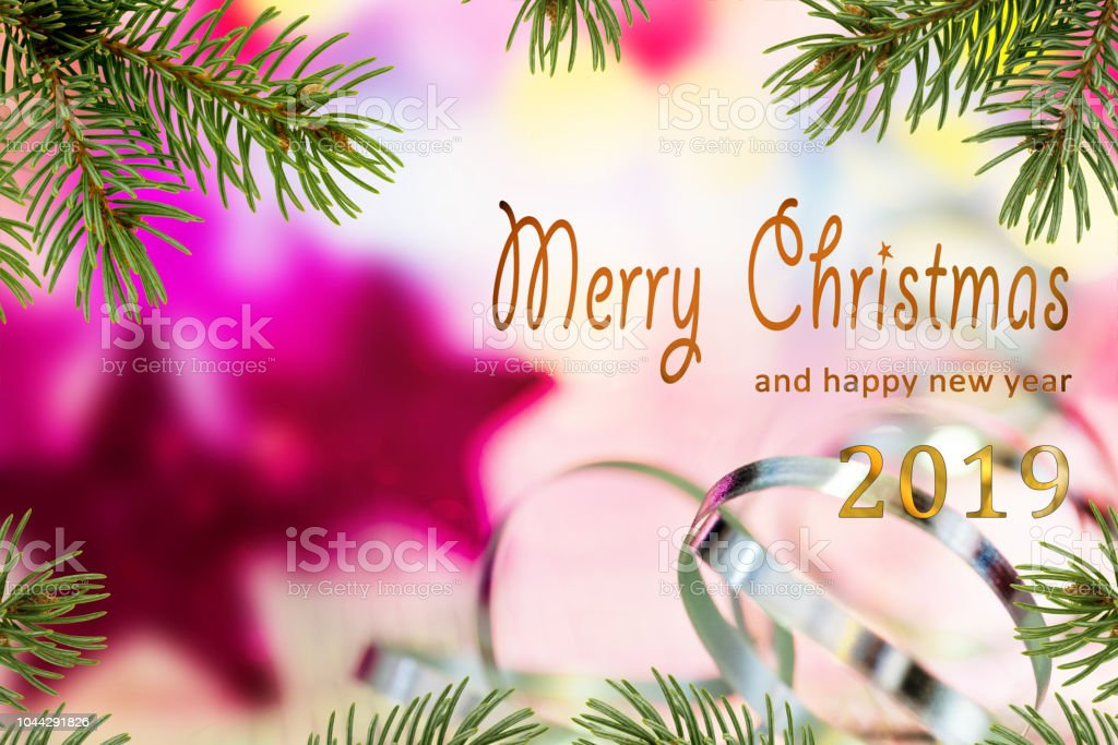 Christmas Background With Merry Christmas And Happy New Year