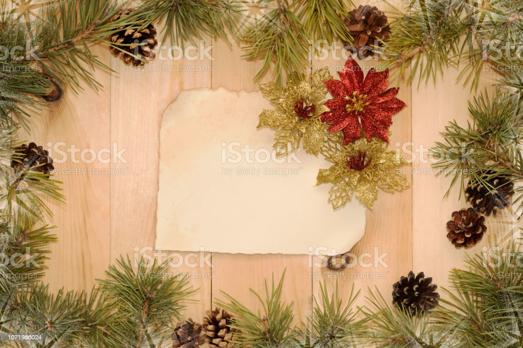 Christmas Background With Old Paper Christmas Decorations