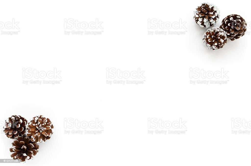 Christmas Background with Pine Cones stock photo