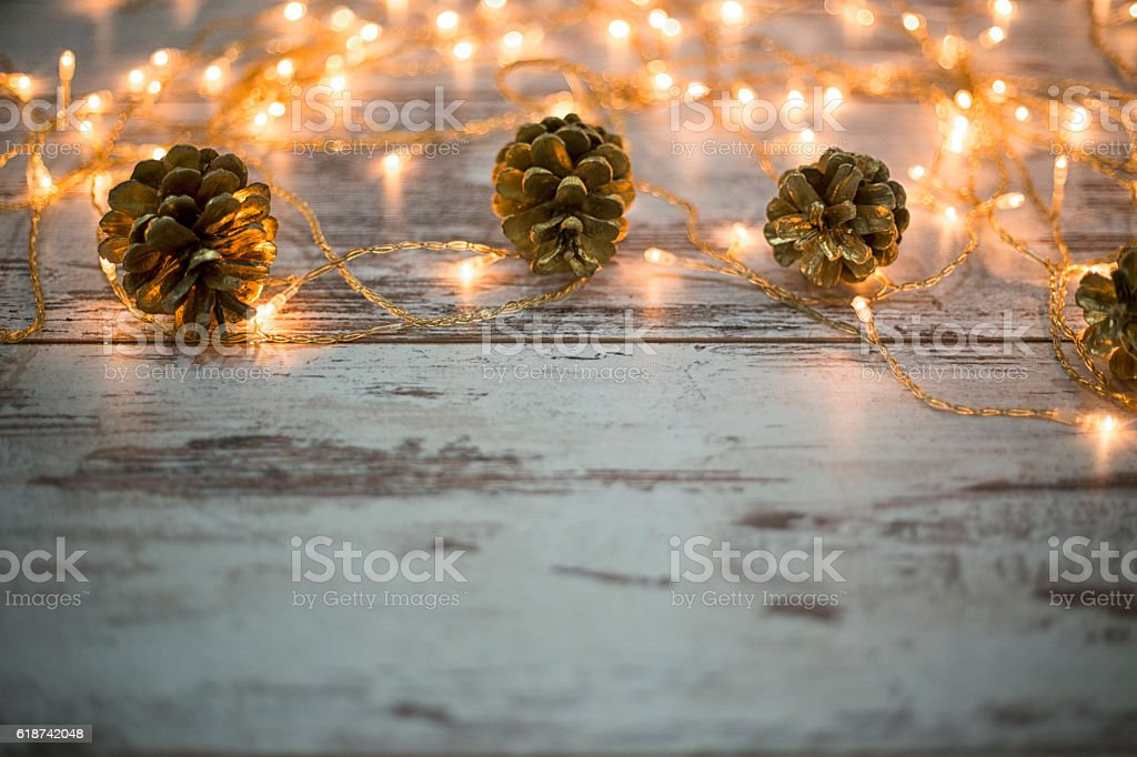 Christmas Background with pinecones stock photo