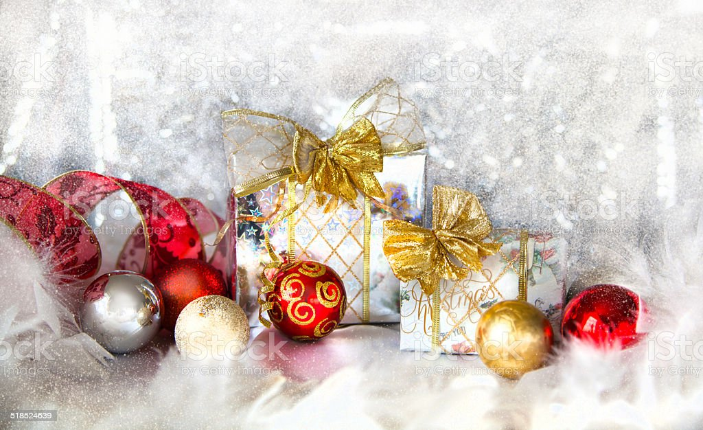 Christmas background with present box stock photo