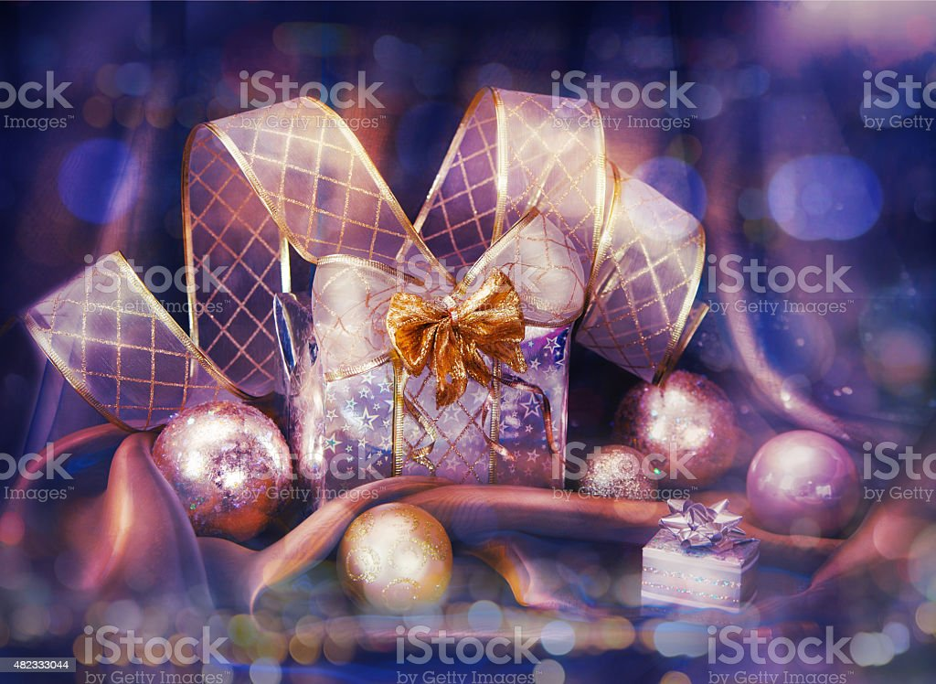 Christmas background with present stock photo