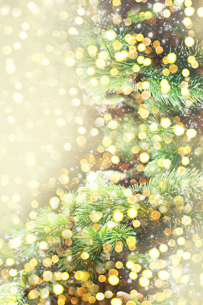 Christmas background with shining lights stock photo