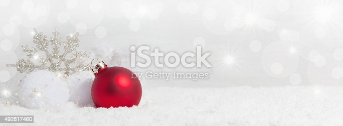 istock Christmas background with snow crystals 492817460