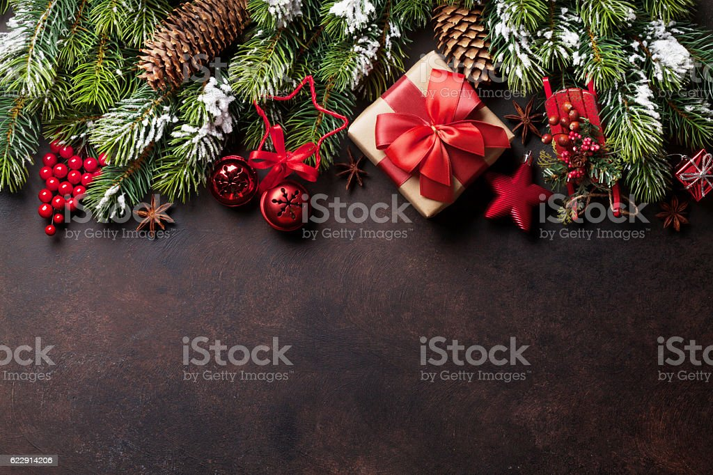 Christmas background with snow fir tree and decor stock photo