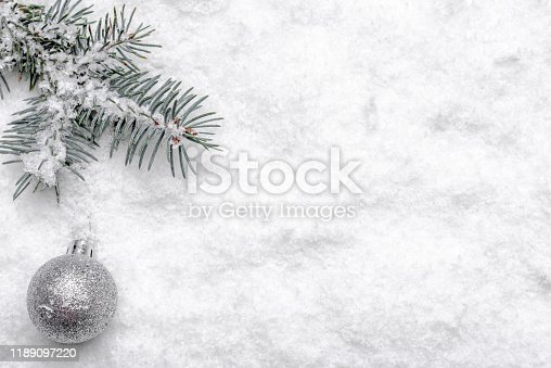 Christmas background with snow, fir tree branch and glass ball, christmas design