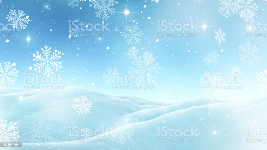 3D Christmas background with snowflakes stock photo