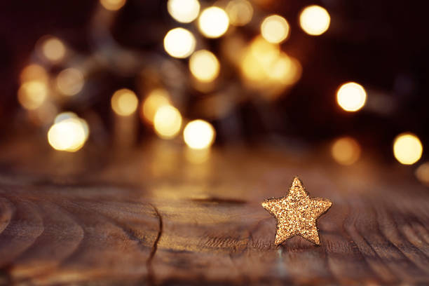 christmas background with stars and bokeh - star shape stock photos and pictures