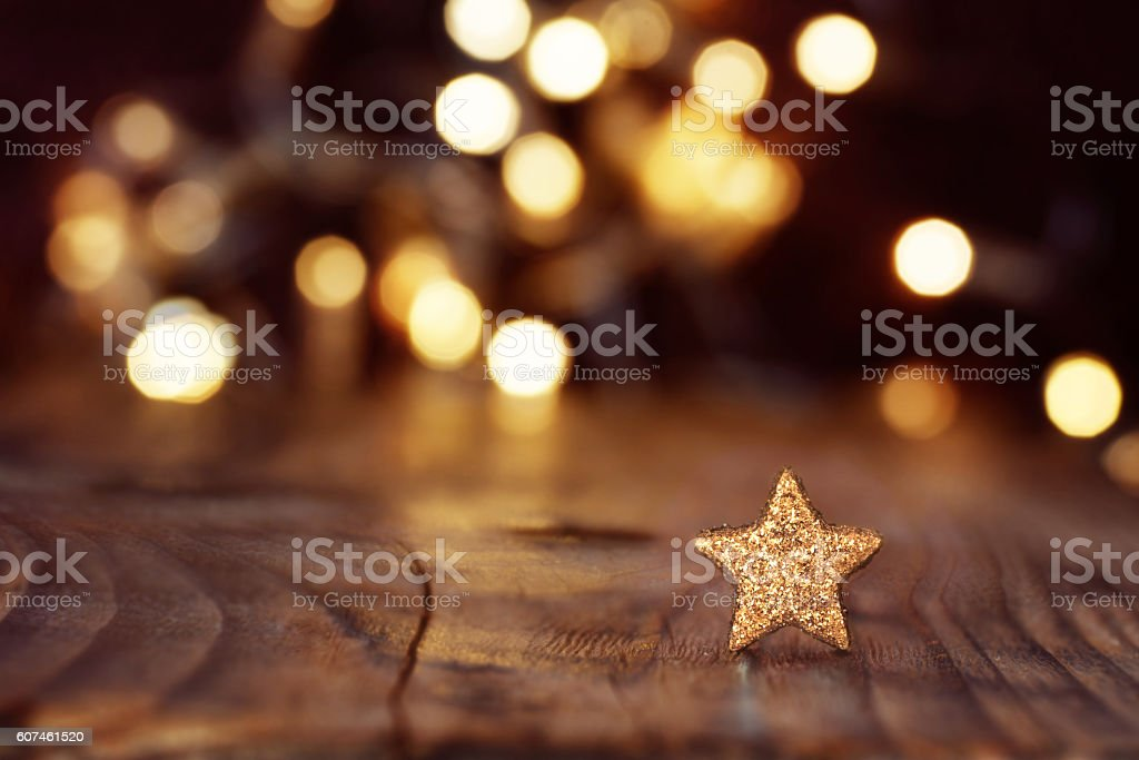 Christmas Background With Stars And Bokeh Stock Photo