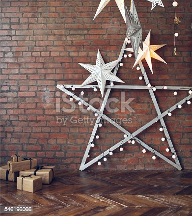 istock Christmas background with stars and presents 546196066