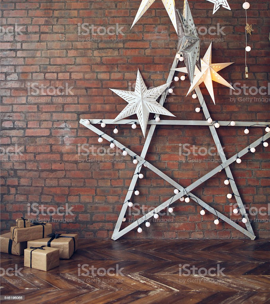 Christmas background with stars and presents stock photo