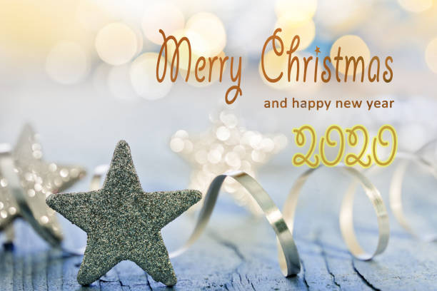 Christmas Background with text Merry Christmas 2020 stock photo