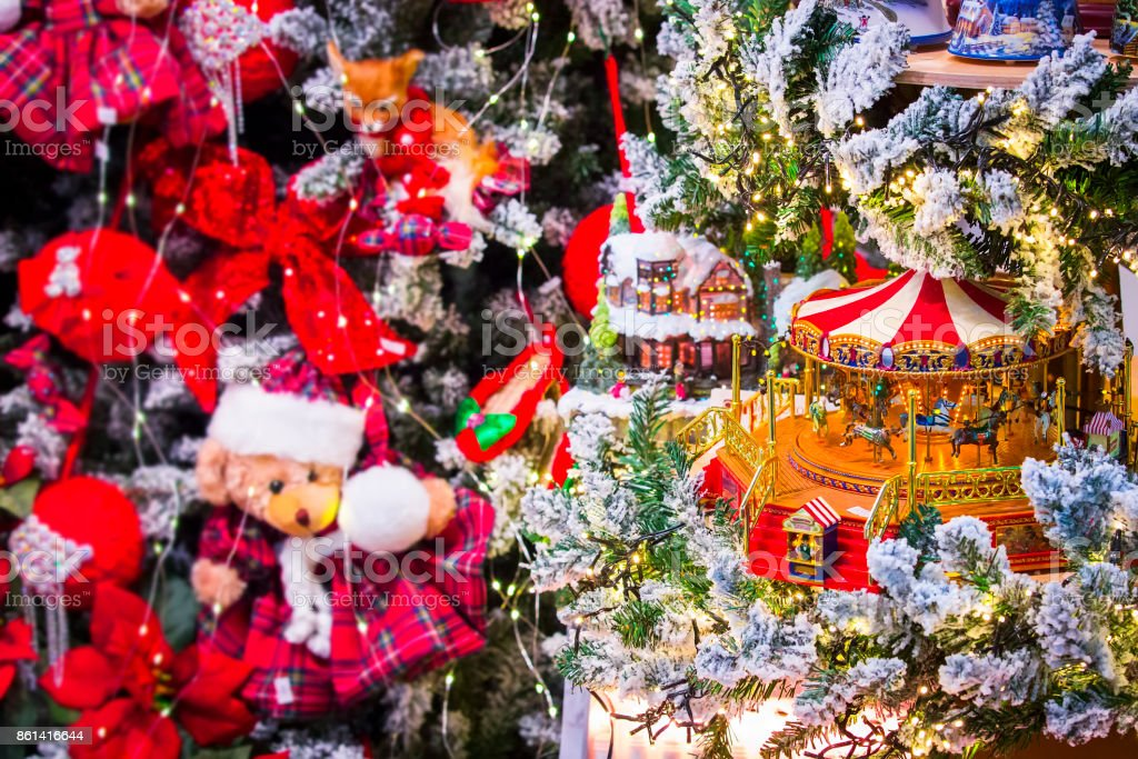 Christmas Background With The New Year Toys Carousel Horses Presents And Decorations Stock Photo Download Image Now