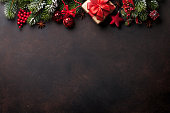 Christmas background with tree and decor