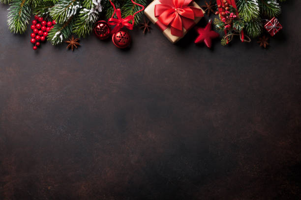 christmas background with tree and decor - christmas stock photos and pictures