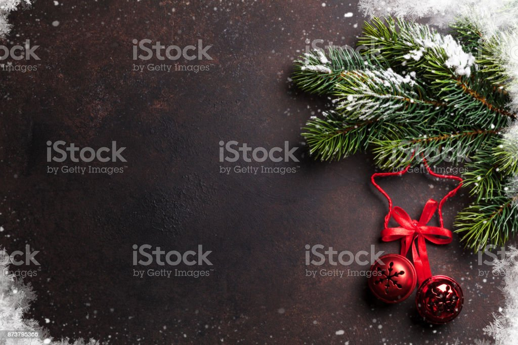 Christmas background with tree and decor stock photo
