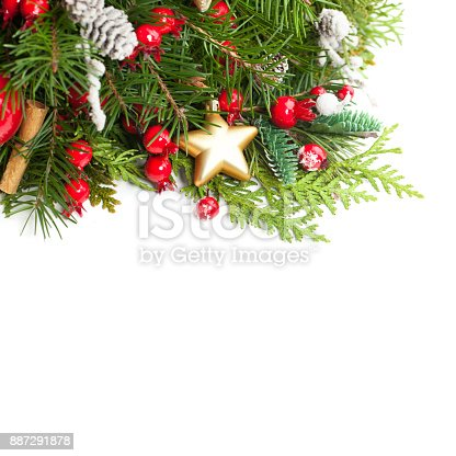 istock Christmas Background with Xmas Decoration, Xmas Tree Twig, Golden Glitter Star on White. New Year Background with Copy Space 887291878