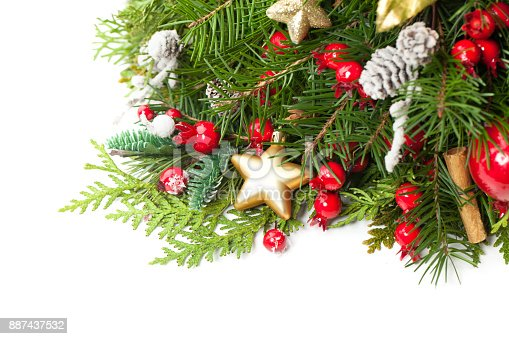 istock Christmas Background with Xmas Decoration, Xmas Tree Twig, Golden Glitter Star on White. New Year Background with Copy Space 887437532