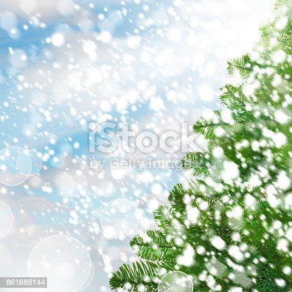 istock Christmas Background with Xmas Fir Tree and Snow 861688144