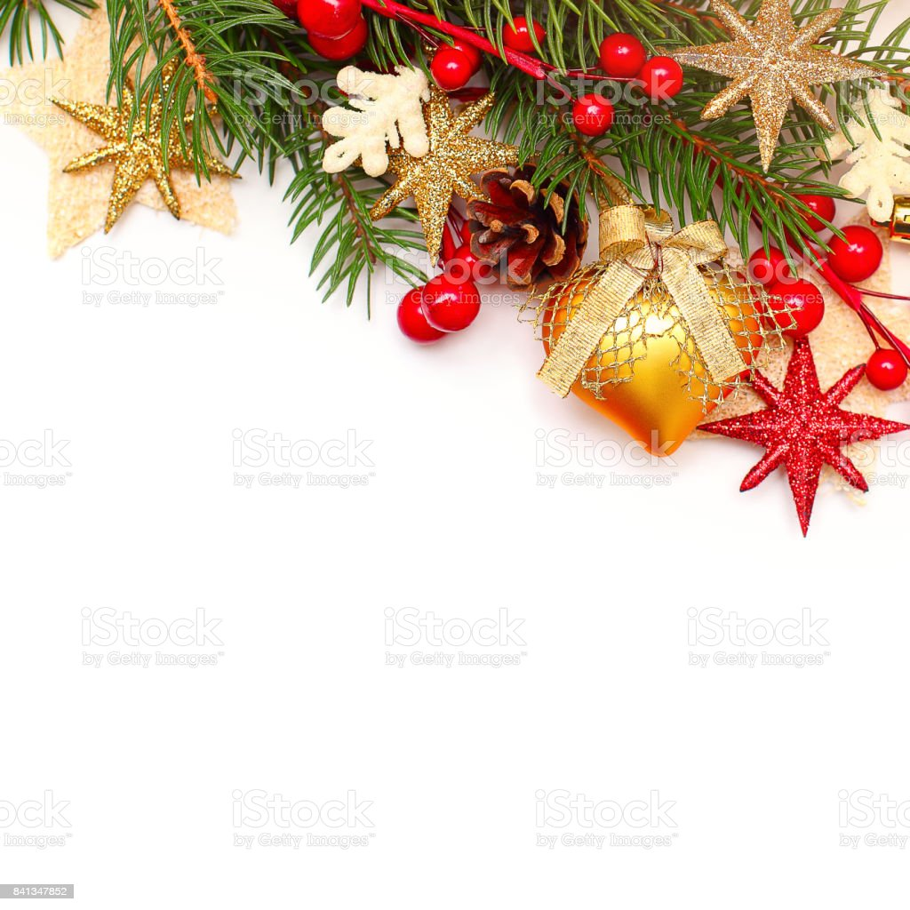 Christmas Background with Xmas Tree Twig and Decorations. Abstract Christmas or New Year Border for Xmas Card stock photo