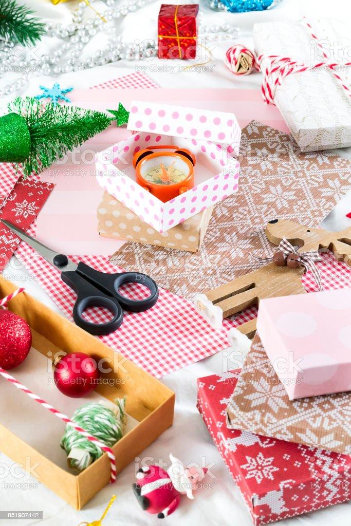 Weihnachten background.handmade Schachteln hergestellt aus Papier – Foto
