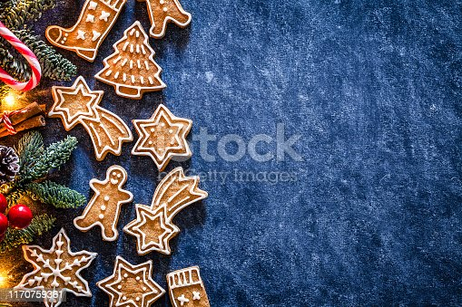 Top view of homemade gingerbread cookies placed at the left of an horizontal abstract blue background making a frame and leaving a useful copy space for text and/or logo at the right. Predominant color are brown and blue. DSRL studio photo taken with Canon EOS 5D Mk II and Canon EF 100mm f/2.8L Macro IS USM