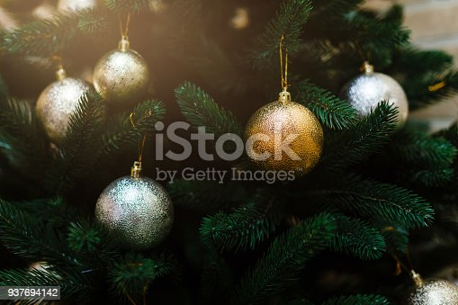 istock Christmas backround. Fir branch with decorations. 937694142