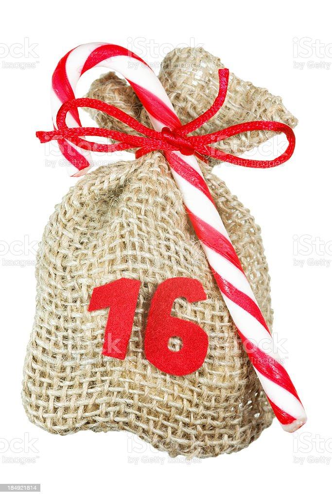 Christmas bag for advent calendar isolated on white stock photo