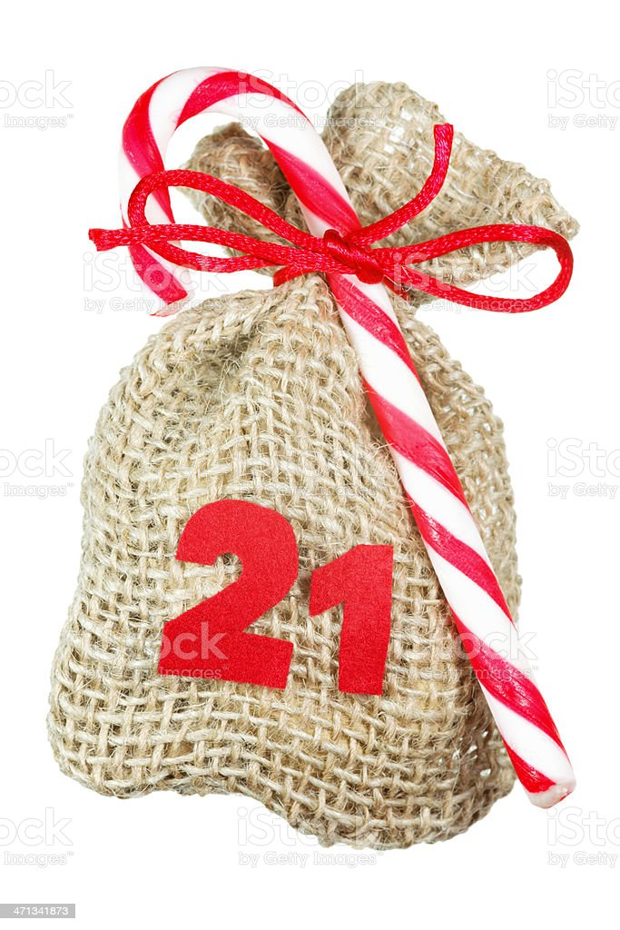 Christmas bag for advent calendar isolated on white royalty-free stock photo