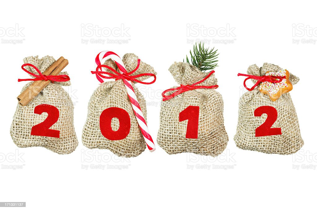 Christmas bags (year 2012) isolated on white royalty-free stock photo