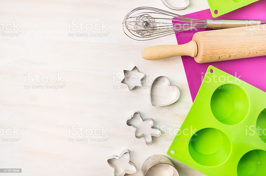 Christmas bake tools for cookie,cake mould of cupcake stock photo