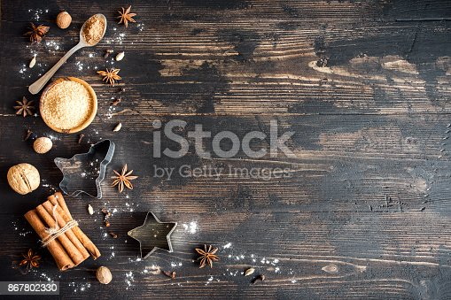 istock Christmas bakery background with spices 867802330