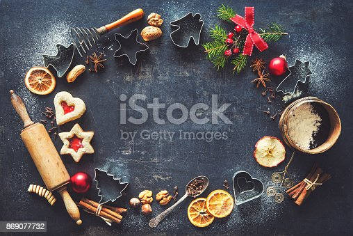 istock Christmas baking background 869077732