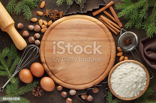 istock Christmas baking background with ingredients for holiday pastry. 894994908