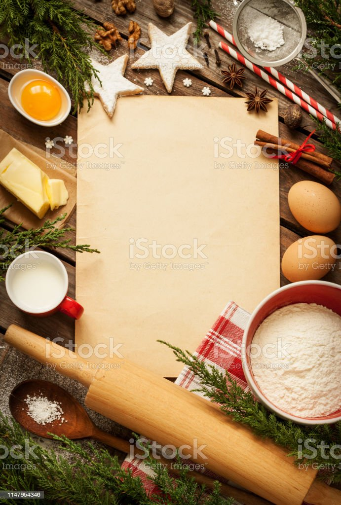 Christmas Baking Cake Background Kitchen Stock Photo
