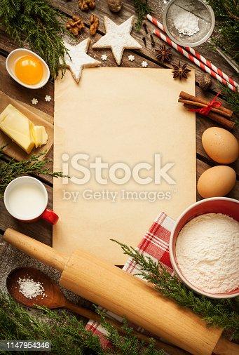 istock Christmas - baking cake background - kitchen 1147954346