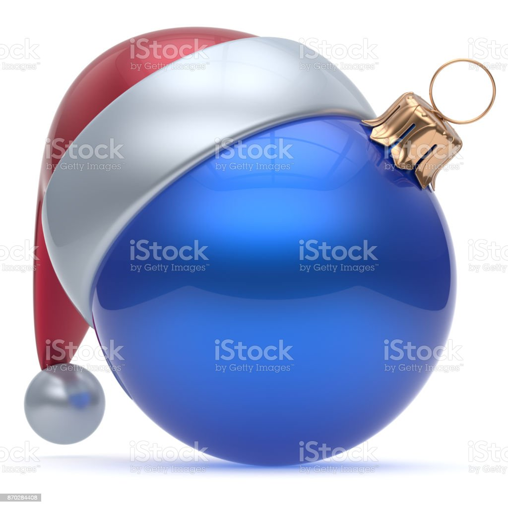 Christmas ball adornment ornament blue New Year's Eve bauble stock photo