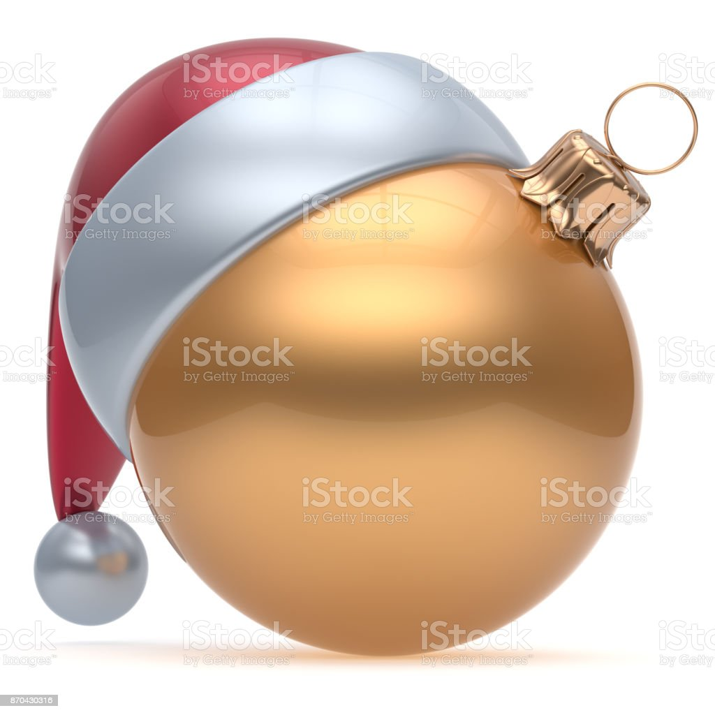 Christmas ball adornment ornament golden New Years Eve icon stock photo