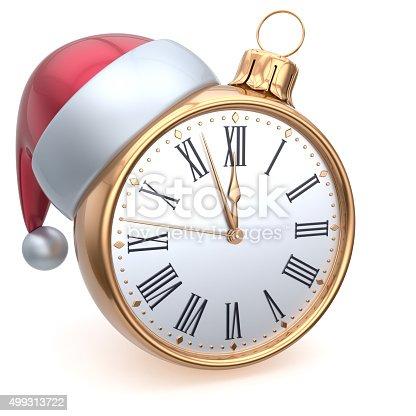 istock Christmas ball alarm clock New Year's Eve time midnight hour 499313722