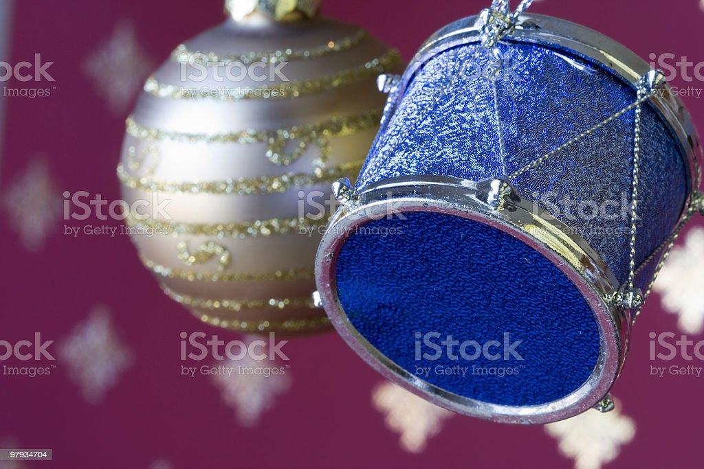 Christmas ball & drum royalty-free stock photo
