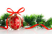 istock Christmas ball and decorations isolated on white background. 1183340315